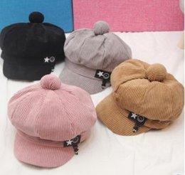 Wholesale Autumn and Winter Children s Beret Baby Fur Ball Duck Tongue Boy Artist s Cap Corduroy Girl s Cute Pumpkin Cap