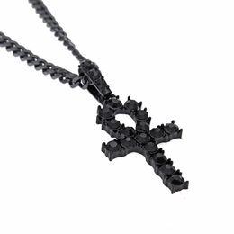 Egypt Pendants Australia - Full Diamond Egypt Ankh Necklace Street Hip Hop Key Pendant Necklaces Men Woman Punk Rock Street Cross Collar Exquisite Gothic Bff Jewelry