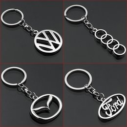 volkswagen key accessories UK - 2 Pieces 3D Car Logo Keyring Keychain Auto Key Ring Key Chain Holder Keyfob For Volkswagen Audi Mazda Ford Car Styling Accessories