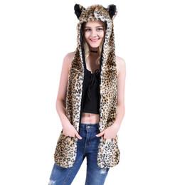 Fur Scarf Wholesaler Australia - Russia Winter Outdoor Warm Hat&Scarf 2in1 Faux Fur Multi Colors Leopard Zebra Panda Pattern Women Scarf With Pocket Cute Ear Hat