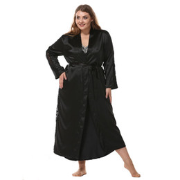 Solid Women Oversize Sleepwear Satin Home Dress Intimate Lingerie Korean Bathrobe  Lace Trim Sexy Nightdress Nightgown Sleep Gown 6c232acc9