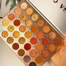 eyeshadow palette full size NZ - 35 Colors Brown Orange Matte Pearlescent Glitter Sequins Eyeshadow Palette Pigment Eye Shadow Makeup Palette Cosmetics Wholesale