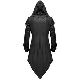 assassins costumes UK - Vintage Halloween Hoody Costumes Men Long Sleeve Steampunk Jacket Gothic Swallow-Tail Coat Cosplay Costume Long Assassin Uniform