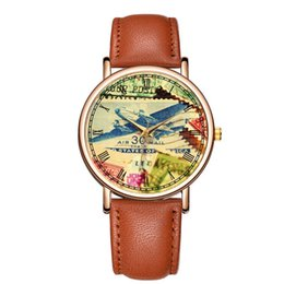 Discount printed glass paintings - BAOSAILI Airplane Travel Couple Wrist Watches Leather Strap Man Watch Fancy horloges Retro Painting Printed Watch Dial B