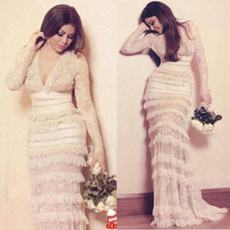 Hourglass dresses online shopping - Sexy Lace Mermaid Evening Dresses Custom Made Deep V Neck Long Sleeve Tiered Lace Sweep Train Prom Dresses Saudi Arabia Party Gowns