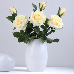 $enCountryForm.capitalKeyWord NZ - Wholesale 50pcs Charming Artificial Silk Fabric Roses Peonies Flowers Bouquet White Pink Burgundy Champagne Red for wedding home hotel decor