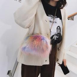 Phone Chain Color Australia - Faux Fur Crossbody Bags For Women Color Plush Chains Messenger Bags Women Small Shell Bag Woman Shoulder Bags Girls Bolsa