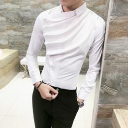 Shirt Korean Designs Australia - Autumn Men Shirt Fashion 2019 Korean Slim Fit Dress Shirts Mens Long Sleeve Front Fold Design Night Club Tuxedo Shirt Men 3xl-m J190415