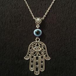 $enCountryForm.capitalKeyWord Australia - Hamsa Hand Necklace Pendants Vintage Silver Collares Hand of Fatima Spiritual Yoga Buddha Eye Choker Necklace For Women Jewelry Gift