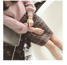 Korean sweater pants online shopping - SMTHMA Women winter Korean embroidery knitting sweater two piece Tweed wool piece Geometric print Skirt set V191021