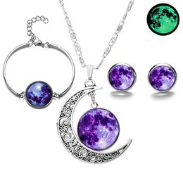 galaxy jewelry NZ - Glowing in the Dark Galaxy Moon Pendant Jewelry Sets Glass Cabochon Luminous Necklace Bracelet Earrings Fashion Jewelry