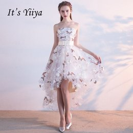 $enCountryForm.capitalKeyWord Australia - It's Yiiya Strapless Pleat Lace Up High-low Asymmetry Vintage Elegant Flowers Taffeta Prom Gown Dancing Party Prom Dresses Lx018 T419053003