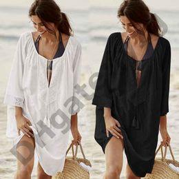 Red White Blue Tutus Australia - Cotton Tunics for Beach Women Swimsuit Cover up Woman Swimwear Beach Cover up Beachwear Pareo Beach Dress Saida de Praia