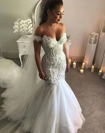 Luxury Lace trumpet mermaid wedding dress online shopping - Sexy Off Shoulder Mermaid Wedding Dresses Luxury Lace Bridal Gowns With Crystals Sweep Train Backless Plus Size Beach Wedding Dress
