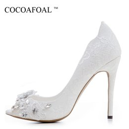 lace embroidered wedding shoe NZ - Cocoafoal Woman 12 Cm Ultra High Heels Shoes Plus Size 33 - 43 Party Crystal White Wedding Pumps Embroider Sexy Pumps