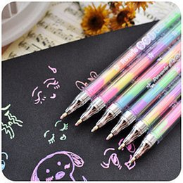 Chalk Pens NZ - 5 pcs lot Kawaii 6 Colors in 1 Watercolor Gel Pen Highlighters Water Chalk Pen 0.8mm For Albums Diary DIY Scrapbooking Painting