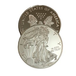 Metal Eagle Australia - Non magnetic Year 2014 1 oz brass core Silver plated American Eagle Coins the statue of liberty souvenir 40 mm decoration metal coin