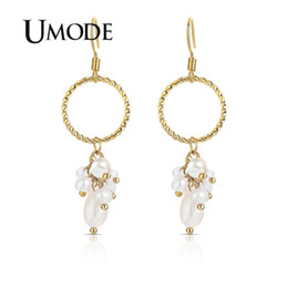 $enCountryForm.capitalKeyWord NZ - UMODE Big Gold Circle Round Drop Earrings for * Women Korean Pearl Long Earrings Gifts Fashion Jewelry Accessories UE0505