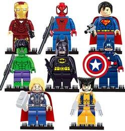 Hulk Blocks Sets Australia - 8pcs lot Super Heroes Building Blocks Sets Mini Figures The Avengers Marvel DC Iron Man Hulk Batman Wolverine Thor Bricks kaws Toys