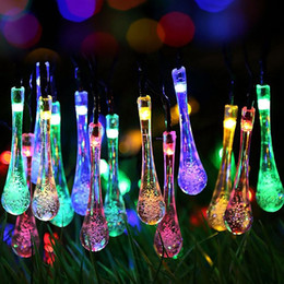 Wholesale outdoor string lights M LED Waterproof Water Drop String Fairy Light Outdoor Garden Christmas Party Decoration