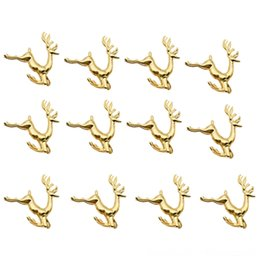 bar table accessories UK - 12Pcs Christmas Elk Deer Table Decoration & Accessories Kitchen, Dining & Bar Rings Gold Alloy Napkin Buckle Napkin Ring Holder Hotel Restau