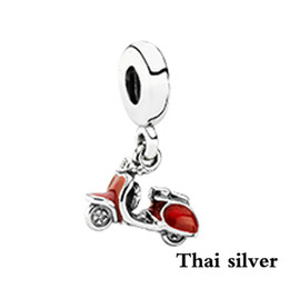 charm jewelry limited Australia - 2019 NEW 100% Sterling Thai Silver Retro Red Scooter Dangle Charm Beaded Limited Collection Jewelry Gift Original Factory Direct Gift