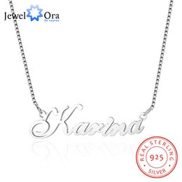 russian jewelry 2019 - Custom 925 Sterling Silver Name Necklace Russian Personalized Nameplate Necklace Jewelry Gift for Women (JewelOra NE1015
