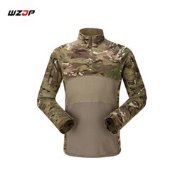 combat camo shirt 2019 - WZJP Outdoor Camouflage Army T-Shirt Men RU Soldiers Combat Tactical T Shirt Force Multicam Camo Long Sleeve Shirts chea