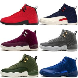 CyCle games online shopping - 12 S Mens Basketball Shoes Bulls Cllege Navy Bordeaux Dark Grey OVO White Gym Red Dark Grey Taxi Flu Game CNY Sports Sneakers