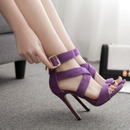 Lycra Strap Australia - Fashion women's shoes Summer casual suede leather straps Roman high-heeled sandals