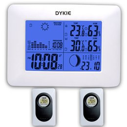 Station Wireless Controllers Australia - Freeshipping DYKIE White RF Digital Clock Wireless Weather Station with Blue Backlight Thermometer Hygrometer Barometer 2 Remote Sensors