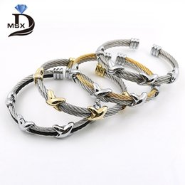 wire adjustable bangle wholesale Canada - 4 Styles Fashion Stainless Steel Men and Women Star Bracelets Wristband Adjustable Wire Love Punk Bracelet Bangle Pulseiras