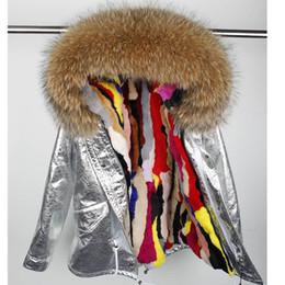 $enCountryForm.capitalKeyWord Australia - Rabbit fur Lined parka Natural Fur coat Silver pu coat real winter jacket women natural raccoon collar warm parkas