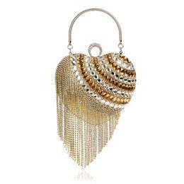 Ladies Evening Handbags Australia - Elegant Ladies Evening Clutch Bag with Chain Diamond Sequin Tassel Heart Shoulder Bag Women'S Handbags Purse Wallets for Wedding