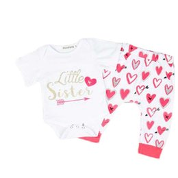 LittLe girLs two piece suits online shopping - Girls Clothing Suit Little Girl Set Kids Designer Brand Clothes Girl Letter Printing Love Full Pattern Set Sweet Style Two Piece Suit