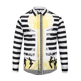 Black White Striped Top Men Australia - True Reveler fashion classic black white Striped long sleeve shirts men plaid blouse UFO character dancing hip hop tops