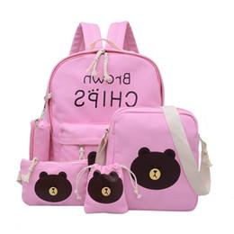 Brown Bear Backpack Australia - 5pcs lot Cute Cartoon Brown Bear Durable Canvas Backpack Girl's Fashion Schoolbag Travel Bag For Teenager