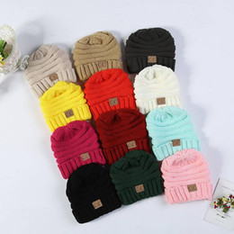 $enCountryForm.capitalKeyWord Australia - Kids Winter Warm Hat Knitted CC Hat Label Children Simple Chunky Stretchable kids Knitted Beanies Baby Hat Beanie Skully Hats 14 color 50pcs