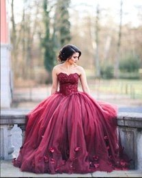 Fuchsia Quinceanera Dress New Australia - Burgundy Strapless Ball Gown Prom Dresses 2019 New Lace Bodice Basque Waist Long Sweetheart Princess Quinceanera Dresses With 3D Floral