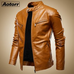 mens bomber winter leather jacket UK - Autumn Jacket Men New Slim Retro Winter Jackets Male PU Leather Stand Collar Sportswear Suits Mens Bomber Coat Chaqueta Hombre T200106