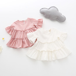 Girls Ruffle Shirts Australia - 2019 Summer Girl T shirt Baby Girl Clothes Children Clothing Fashion Ruffles sleeve Kids 100% cotton blouse T-shirt Age 1-4Y