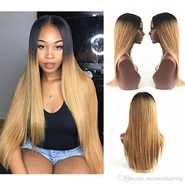 Brown Straight Wig Part Australia - Hot Popular Ombre Wig Dark Root Black Brown Long Silky Straight Wig Middle Part 180% Density Synthetic Lace Front Wigs For Women