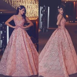 Empire Lace Applique Dress Australia - 2019 Said Mhamad Evening Dresses V Neck Lace Appliques Crystal Dubai Arabic Style Formal Occasion Prom Party Dresses Custom Made Hot Sale