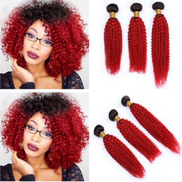 """Ombre Curly Human Hair Weave Australia - #1B Red Ombre Kinky Curly Brazilian Human Hair Weave Bundles 3Pcs 300g Red Ombre Kinky Curly Human Hair Extensions Double Weft 10-30"""""""