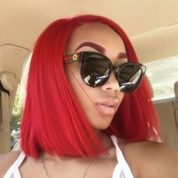 Discount full lace human hair red - Red Full Lace Bob Wig Human Hair Vigin Peruvian Sort Cut Color Red Human Hair Wigs Lace Front Colored For Black Women
