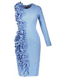 $enCountryForm.capitalKeyWord UK - 2019 one Shoulder Dress Women Sexy fashion long sleeve Bodycon dress Party Asymmetric 3 D floral Ruffle Elegant plaid Dress