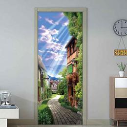 $enCountryForm.capitalKeyWord Australia - Countryside Style Self adhesive Door Sticker Living Room Wall Painting PVC Waterproof Wallpaper Door DIY Wall Sticker