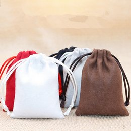 Discount coffee pricing - 5pcs lot 9*12cm Double Side Suede Bag Custom Logo Print Pouch Drawstring Bags For Jewelry Bracelet Necklace Wholesale pr