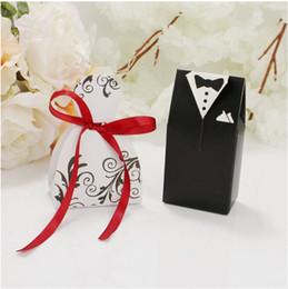 Dress Party Favor Boxes Australia - 100pcs Wedding Favor Candy Box Bride & Groom Dress Tuxedo Party w  Ribbon