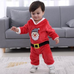 Santa Claus Girls Jumpsuit Australia - Baby Rompers Red Fuzzy Plush Santa Claus Jumpsuit One Piece Hooded Climbing Suit Playsuit Sleepsuit for Kids Boys Girls 3-18 months